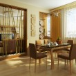 Modern dinner room interior 3d rendering - Stock Photo