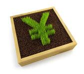 Uprawy symbol jenów — Zdjęcie stockowe