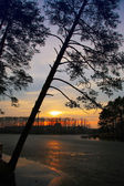 Autumn landscape with droop sun — Stock Photo