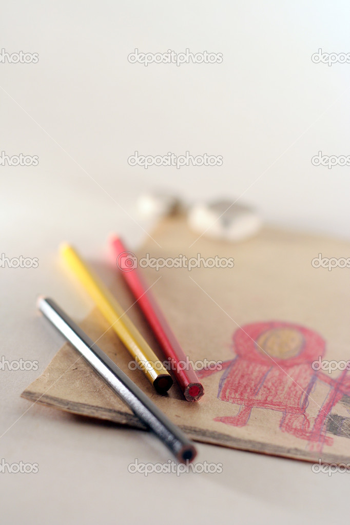 The still life photo of children's drawing and coloured pencils  Stock Photo #2378214