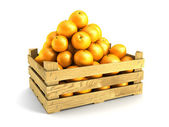 Wooden crate full of oranges — Stock Photo