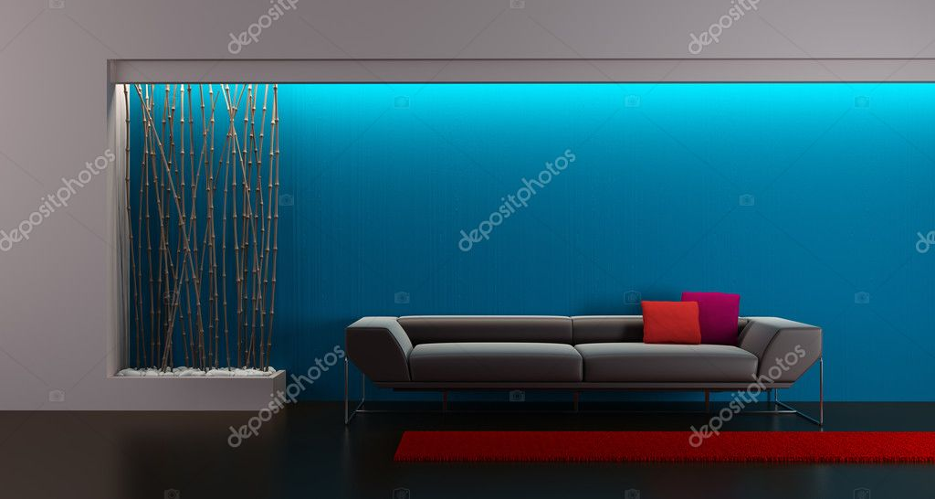 3d rendering of modern lounge room — Stock Photo #2547082
