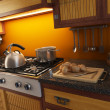3d rendering of modern kitchen - Stock Photo