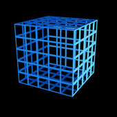 Faceted blue 3d cube — Stock Photo