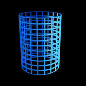 Faceted blue 3d cylinder — Stock Photo