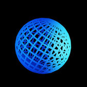 Faceted blue 3d sphere — Stock Photo