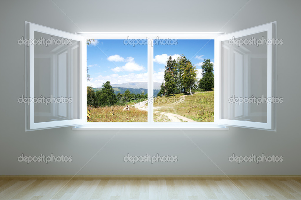 3d rendering the empty room with open window   #2571956