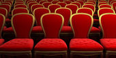 Concert hall with red seat — Stock Photo