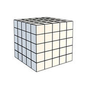 Faceted white 3d cube — Stock Photo