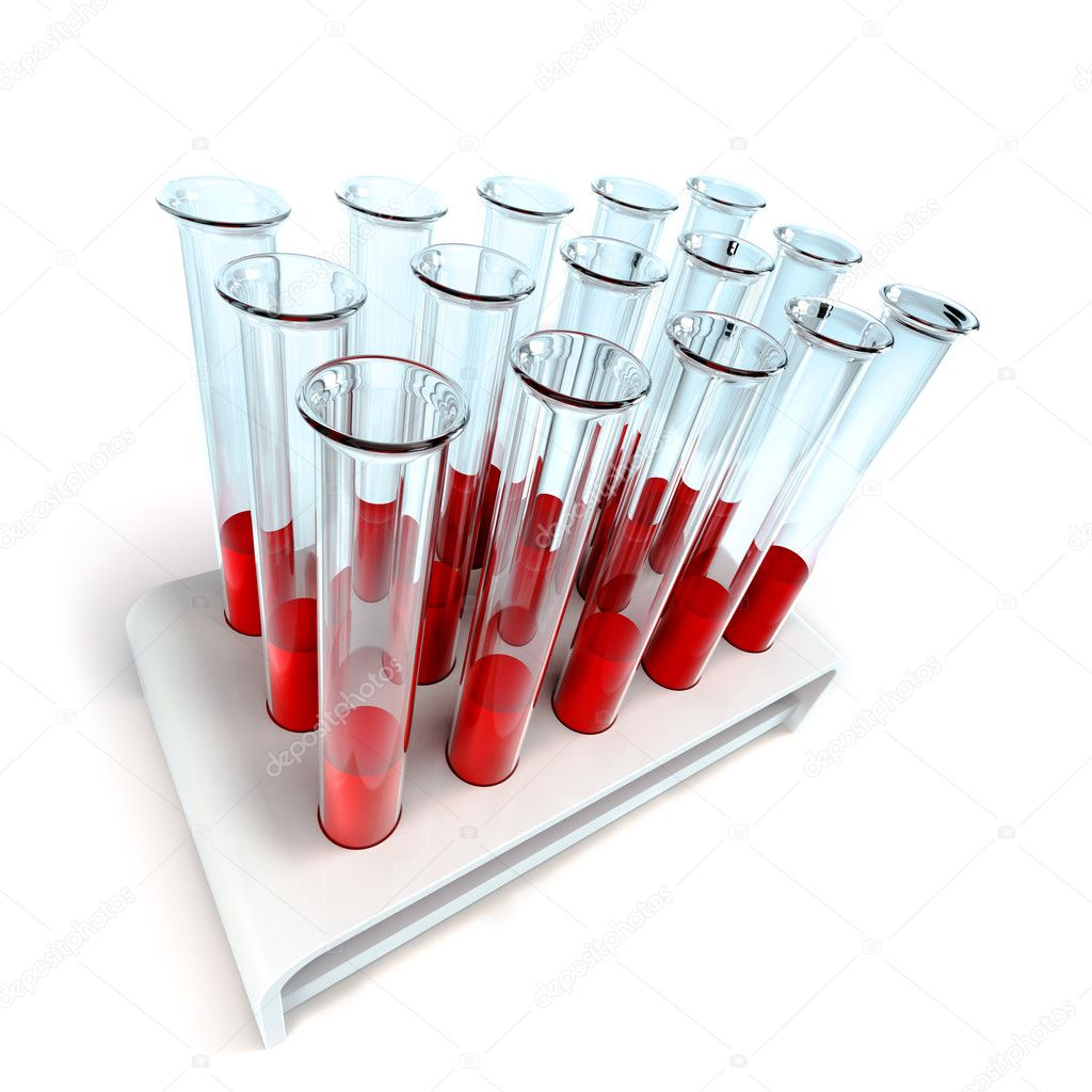 Medical test-tube with blood samples 3d rendering — Stock Photo #2623653