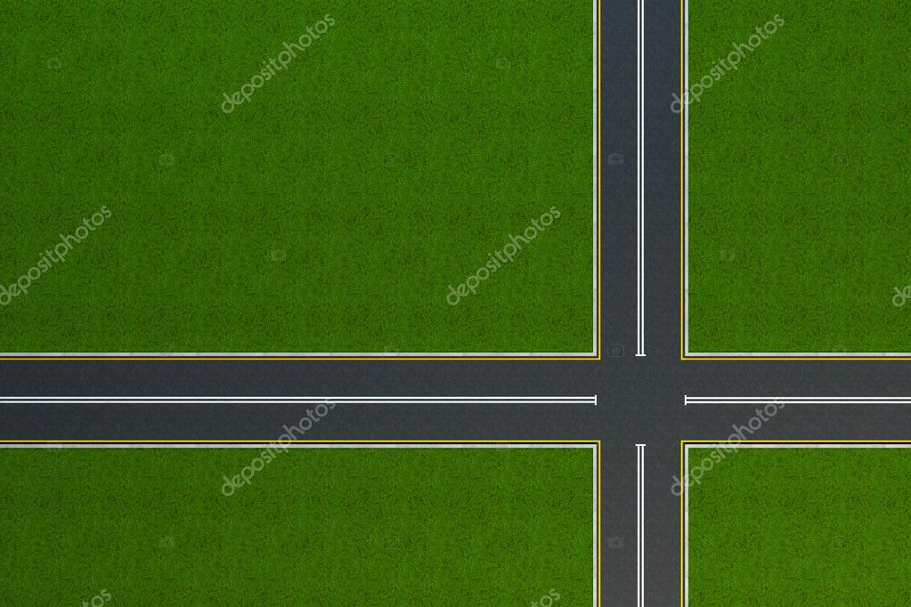 Top view on a void crossroad — Stock Photo #2623804