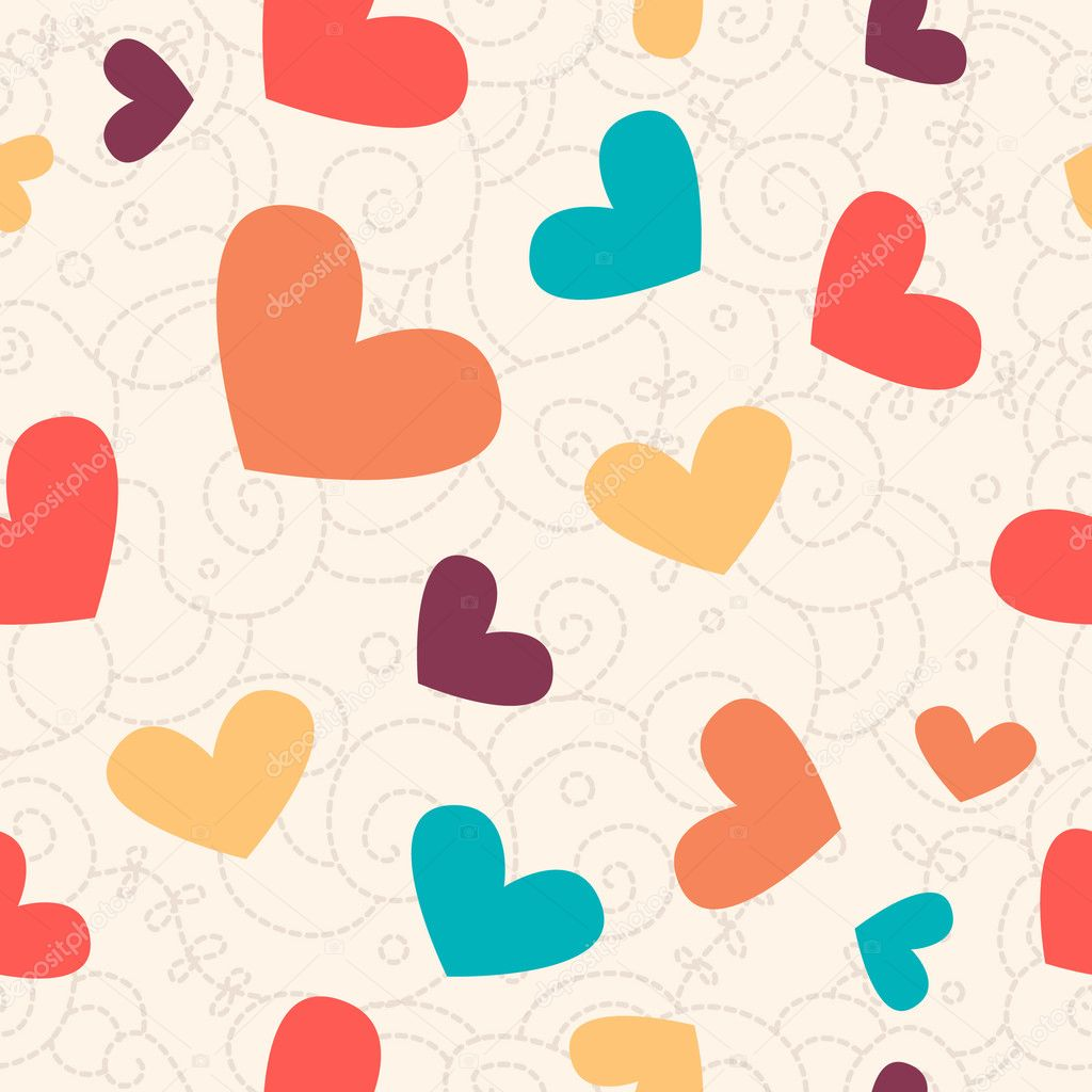 Cute valentine seamless background for your design    #1689460