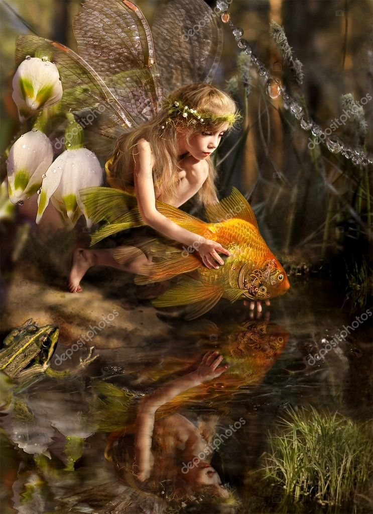  The girl releases a gold fish  Stock Photo #1583320