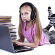 Girl and laptop — Stock Photo