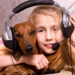 Girl end dog — Stock Photo #2462236