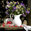 Still Life with flowers and  berries - Stock Photo
