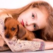 Stock Photo: Girl end dog