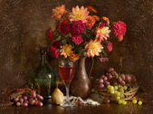 Still life with autumn flowers — Stock Photo