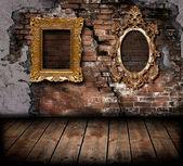 Ročník rám na cihlovou zeď staré — Stock fotografie