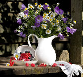 Still Life with flowers and berries — Stock Photo