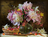 Still life bells, peonies, Aquilegia — Stock Photo