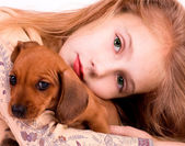Girl end dog — Stock Photo