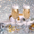 Foto Stock: Glasses of champagne