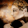 Girl head with a mechanism in place of the brain, mechanical Nefertiti — Stockfoto