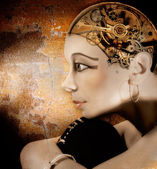 Girl head with a mechanism in place of the brain, mechanical Nefertiti — Stock Photo