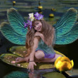 Elf  girl with wings - Stock Photo