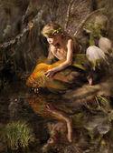 эльф и золотой рыбы — Стоковое фото