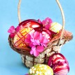 Royalty-Free Stock Photo: Easter eggs and flower