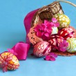 Stock Photo: Easter eggs and flower pink