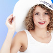Sexy woman wearing white hat — Stock Photo