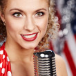 Singer woman, pin-up style — Stock Photo #1596996