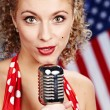 Singer woman, pin-up style — Stock Photo #1597188
