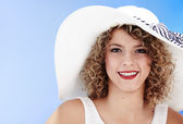Sexy woman wearing white hat — Stok fotoğraf