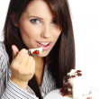 Young beautiful woman with a cake. — Stock Photo #1601476