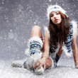 Winter woman on snow — Stock Photo