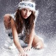 Winter wild woman — Stock Photo