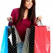Sexy shopping girl with sale bag - Stock Photo