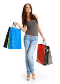 Sexy shopping girl with sale bag — Stock Photo