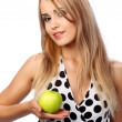 Young happy smiling woman with apple, — Stock Photo