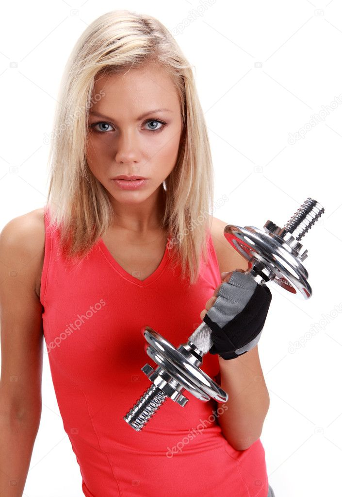 A photo of a woman lifting a weight  Stock Photo #1627460