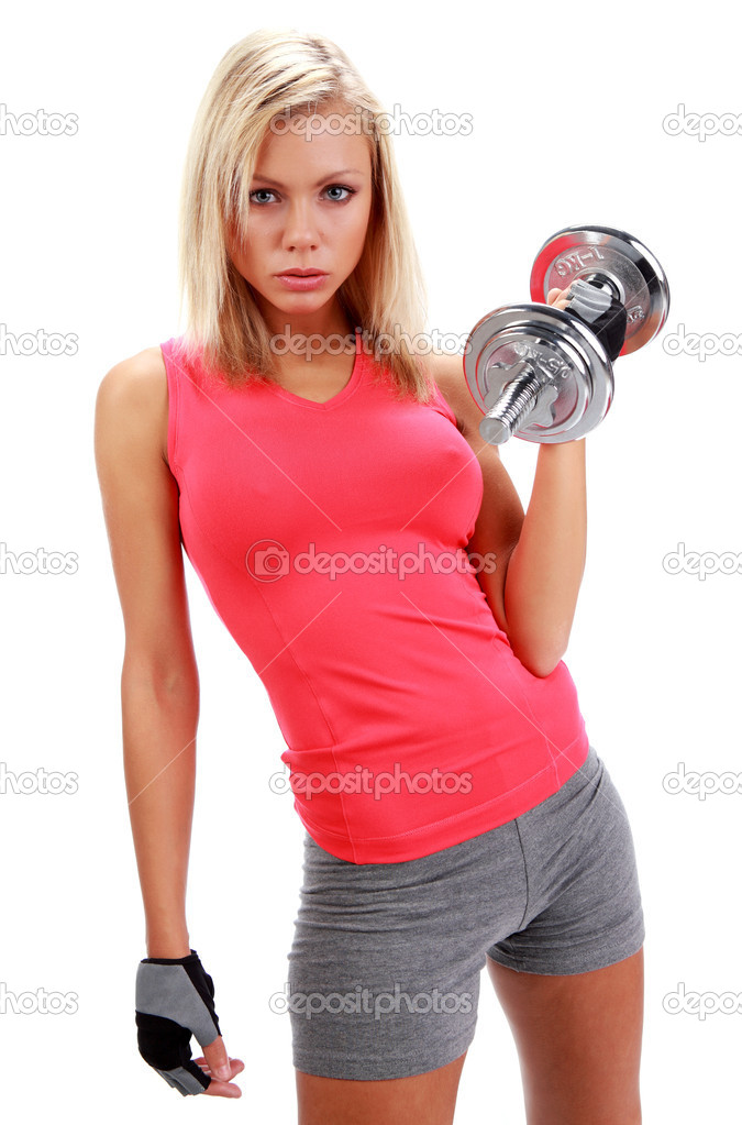 A photo of a woman lifting a weight — Stockfoto #1627688