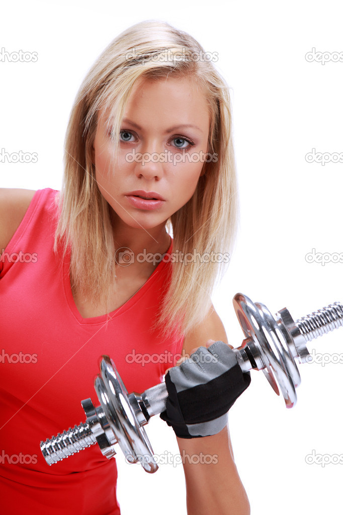 Healthy Fitness Woman Working Out, isolated shot  Stock Photo #1627743