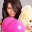 Beautiful girl with pink balloons — Stock Photo #1655659