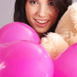Beautiful girl with pink balloons — Stock Photo #1655738
