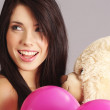 Beautiful girl with pink balloons — Stock Photo #1655798