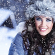 Winter Portrait Frau — Stockfoto